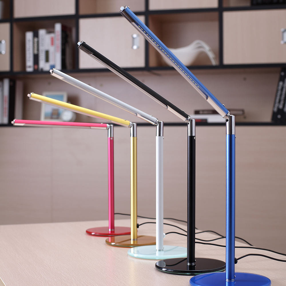 Aluminum Alloy Led Desk Lamp Modern Push Button Switch Rotatable Study Reading Light Table Lamp For Office Deco 5 Colors