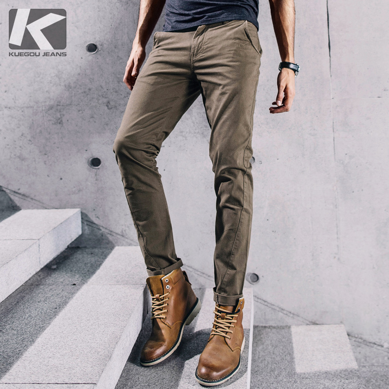 KUEGOU New Spring Mens Casual Pants Patchwork Solid Khaki Color With Pockets For Man's Slim Fit Male Wear Brand Trousers 2357