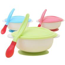 None Baby Infant Nonslip Temperature Sensing Spoon Feeding Bowl with Suction Cup