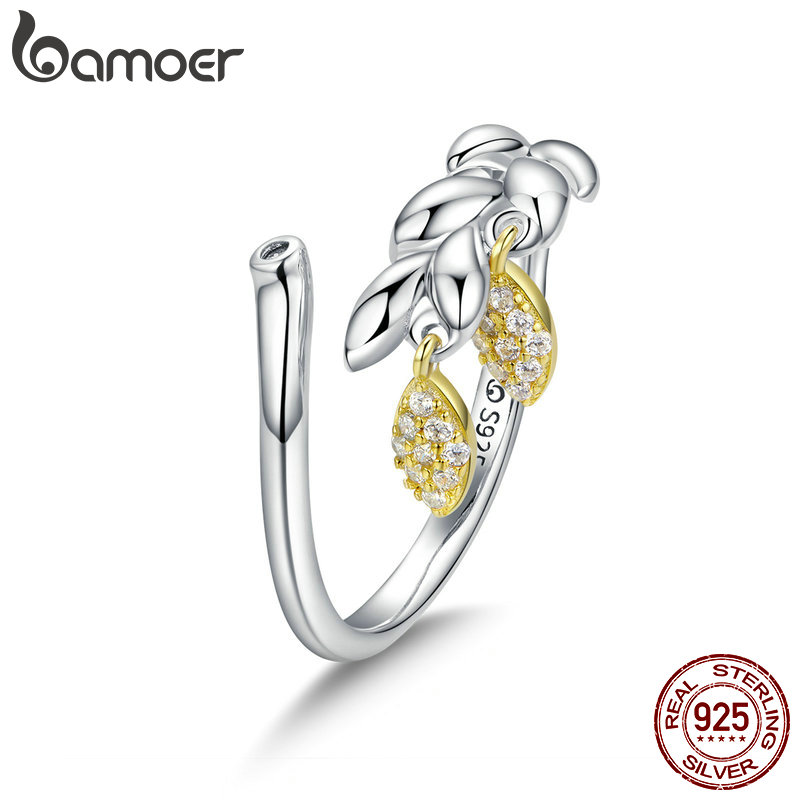 BAMOER New Arrival Genuine 925 Sterling Silver Hope Wheat Open Size Finger Rings For Women Wedding Engagement Jewelry BSR019