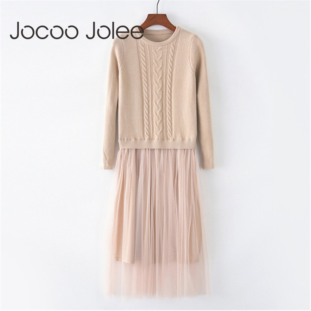 Jocoo Jolee Elegant Ladies Korean Knitted Dress Women Autumn Long Sleeve O Neck High Elastic Patchwork Mesh Sweater Midi Dress
