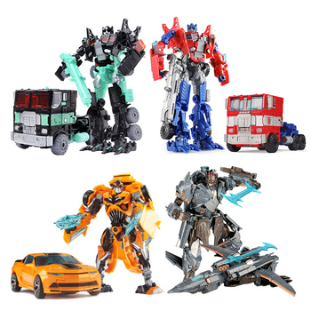19 cm transformación Robot de juguete del coche Bumblebee Optimus Prime Megatron Decepticons colección de Jazz figura de acción de regalo para los niños