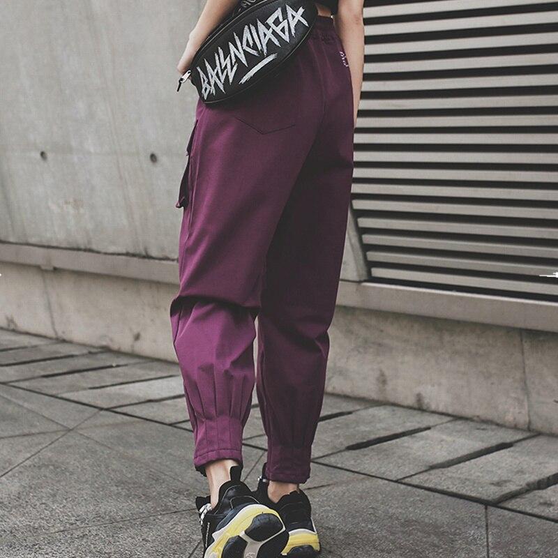 Qiukichnson England Style Joggers Women 2019 Spring Big Pockets High Waist Hip Hop Loose Fashion Cargo Pants Women Harem Pants