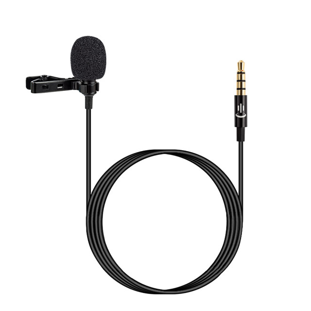 Lavalier Lapel Clip on Microphone Mic 3.5mm Audio Mic for Smartphone Camera Computer Laptop for Video Recording Interview