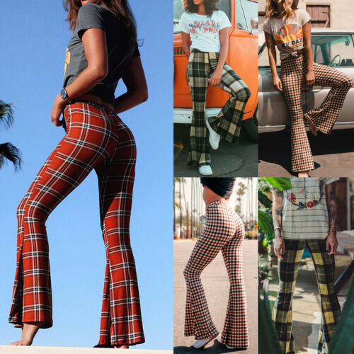 Vintage Plaid Bell-Bottom Trousers 2