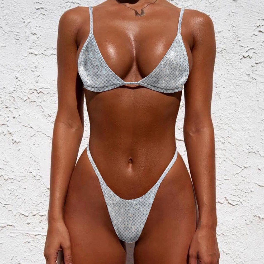 Glitter Bikini Thong Micro Swimsuit Push Up Swimwear Shiny Swimming Suit Women Biquini Triangle Bathing Suit Silver Bikini 2019