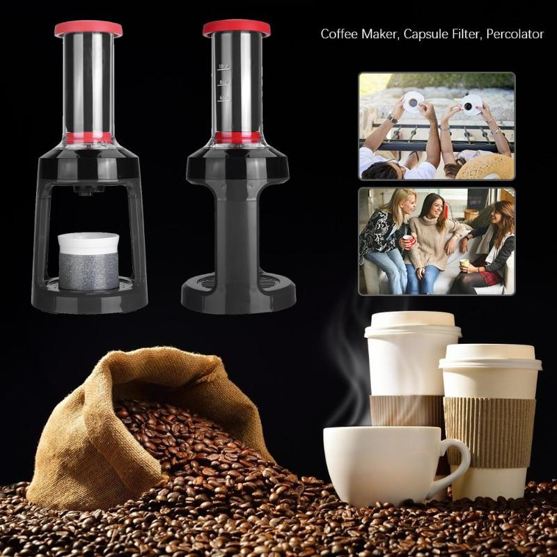 Capsule Filter Coffee Pot K-cup Manual Coffee Maker Espresso Hand Press Percolator Coffee Machine Espresso Maker for Home TravelCapsule Filter Coffee Pot K-cup Manual Coffee Maker Espresso Hand Press Percolator Coffee Machine Espresso Maker for Home Travel