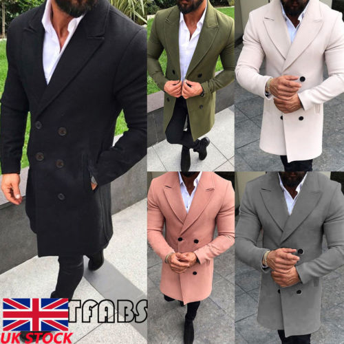New Winter Men's Woolen Casual Long Sleeve Double Breasted   Trench   Coat Windbreaker Overcoat Long Jacket