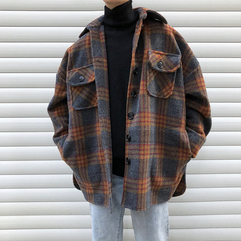 UYUK Original Coat Men Woolen Blends Plaid Overcoat Lapel Shirt Coat Long Sleeve Warm Thick Korean Outwear Coat Male Spring 2019