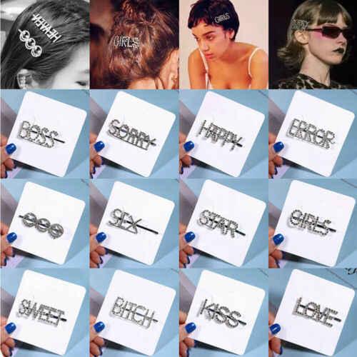 Bridal Hair Pins Rhinestone Clip Crystal Letters Hairpin Barrette Slide Grips