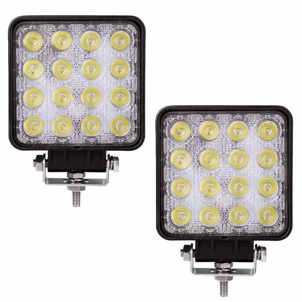2 pces 48 w 6000k conduziu luzes de trabalho quadradas do feixe do ponto da lâmpada trator suv caminhão 4wd 12 v 24 v impermeável para os tipos de veículos