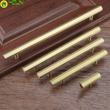 1pc Gold T bar solid  Brass Hexagon handle Cabinet Pull for Kitchen Room Straight Dresser Handle and Knob Furniture Hardware