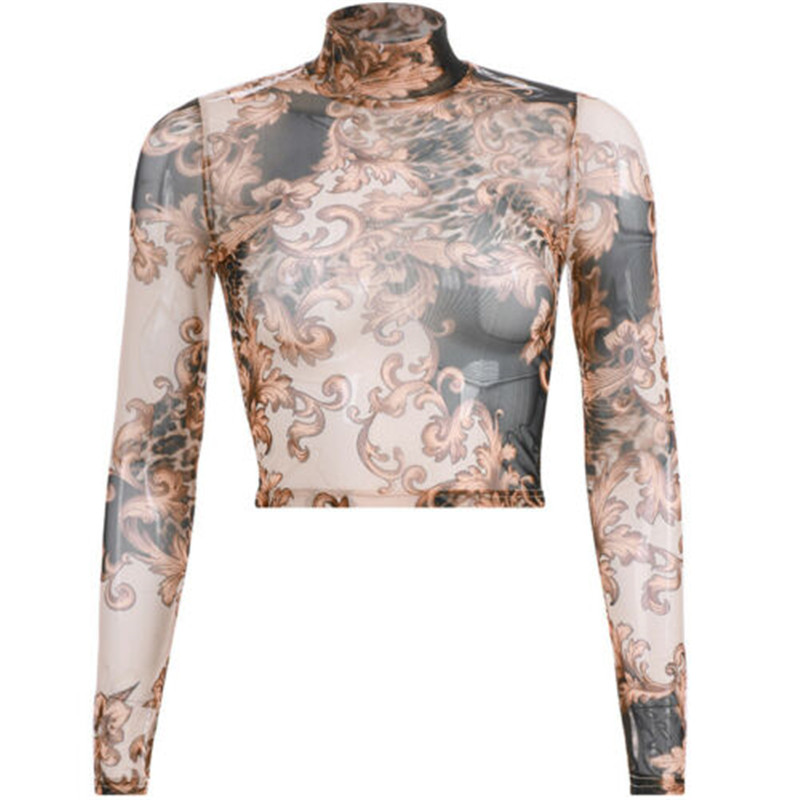 Professional Sale Mesh Top Women Black Turtleneck Sexy Long Sleeve Crop Tshirt Top Sheer Perspective Harajuku Undershirt Camisas Femininas 18jan21 Women's Clothing T-shirts
