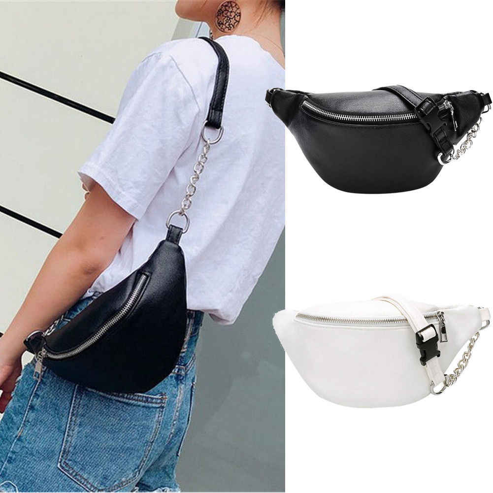5b704306c38a Detail Feedback Questions about 2019 New Arrivals Women Girls Waist Fanny  Pack Chest Bum Bag Zip Pouch Hip Purse Travel Tote PU Bags Chain Solid  Fashion ...