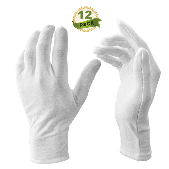 12 Pairs/Lot White Soft Cotton Ceremonial Gloves Stretchable Lining Glove for Male Female Serving/Waiters/Drivers Gloves