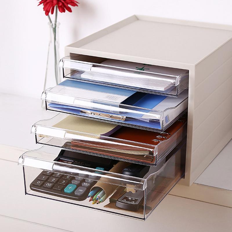 Boîte de rangement de tiroir de bureau Classification multicouche étiquette boîte bureau étude papeterie fichiers conteneur de stockage