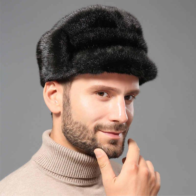 Зима Настоящее меховая шапка Для мужчин норки меховая шапка мужской норки  Охотник на пушных зверей Кепки e0b7377d85cc8