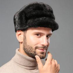 Зимняя шапка из натурального меха, Мужская норковая меховая шапка, Мужская норковая меховая шапка охотника из натуральной овечьей кожи, Охо...