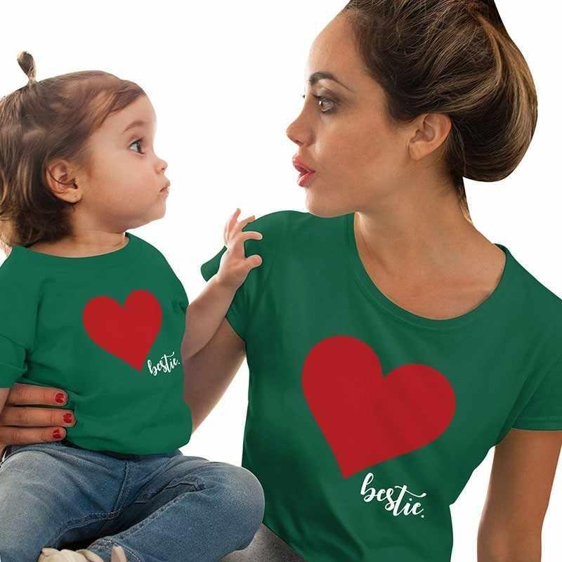 Mommy Mini Me Tee ผ้าฝ้ายครอบครัวชุดแม่และลูกสาวหัวใจพิมพ์เสื้อยืดครอบครัวตรงกันเดียวกันเสื้อ