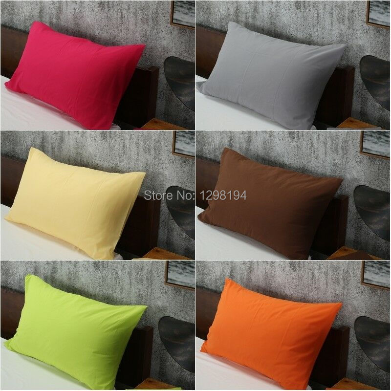 2PCS=1Pair Solid Color Bed Pillow Case Pillowcases Bedding Bedroom Pillow Cover Standard Queen Size White Green Gray Yellow