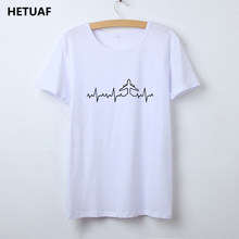 HETUAF Heartbeat Plane Pilot T Shirt Women Graphic O-neck Printed Tee Shirt Femme Cotton Tumblr Woman Tshirt Top Camisetas Mujer