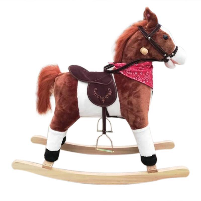 Nouveaux enfants en bois cheval à bascule drôle en mouvement Animal Ride cheval poney jouets d'enfance avec Neigh Sound brun foncé