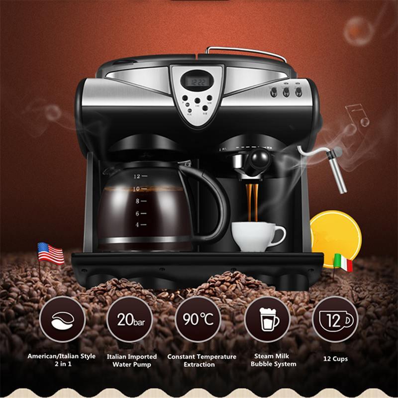 Becornec 1.5L Office Automatic Espresso Coffee Machine American Cafe Maker Coffee Pot Steam Bubble Milk Frother 20bar LCD Screen