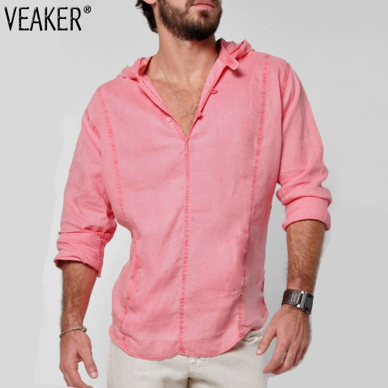 a493457526a4108 2019 Новые мужские свободные льняные рубашки мужские однотонные  негабаритные хлопковые льняные рубашки с v-образным вырезом мужские повседн.