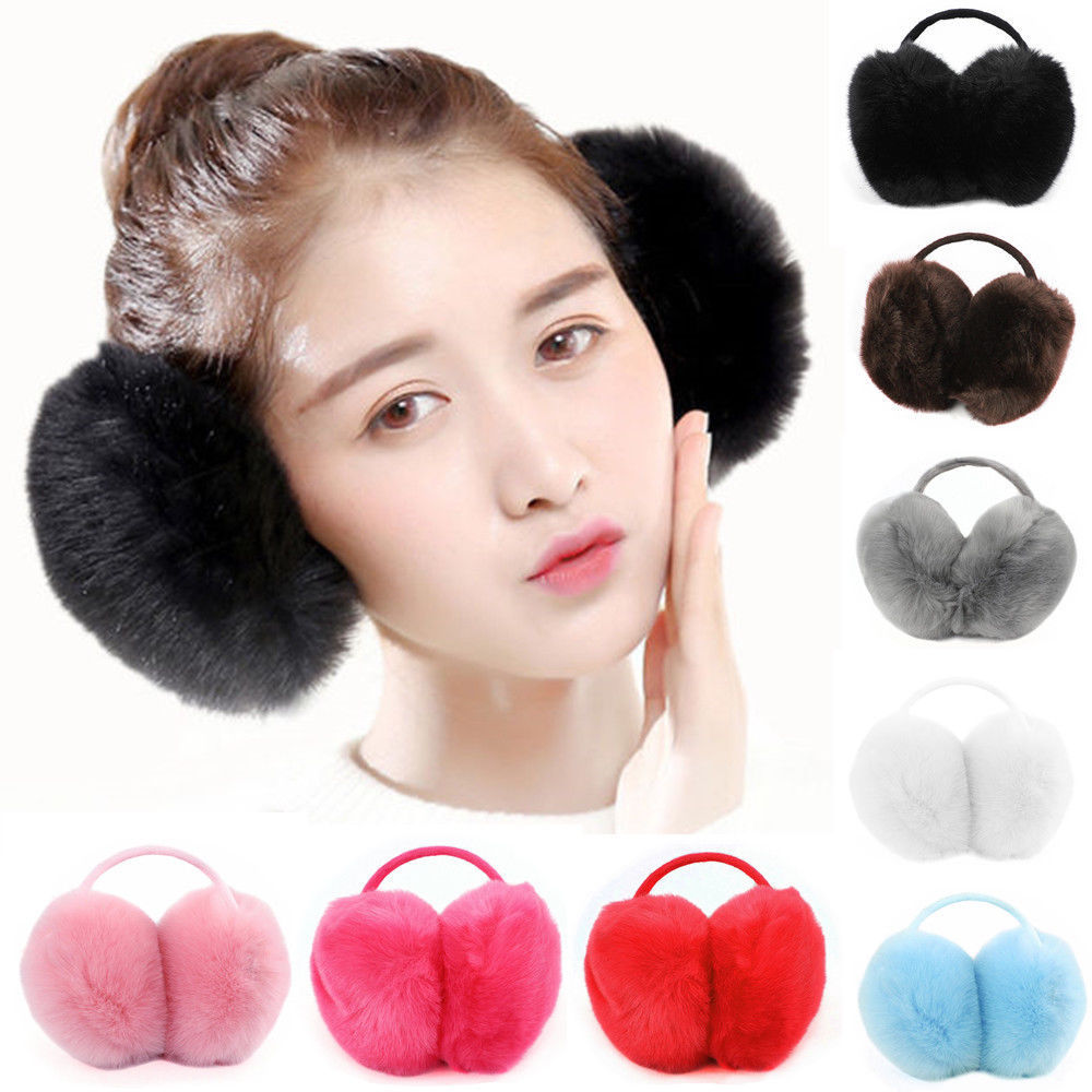 3 Colours To Choose From Girls Fluffy Faux Fur Plush Ear Muffs