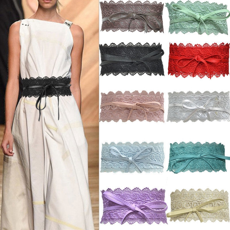 Fashion Womens Lady Stretch Buckle Waist Belt Wide Lace Elastic Corset Waistband