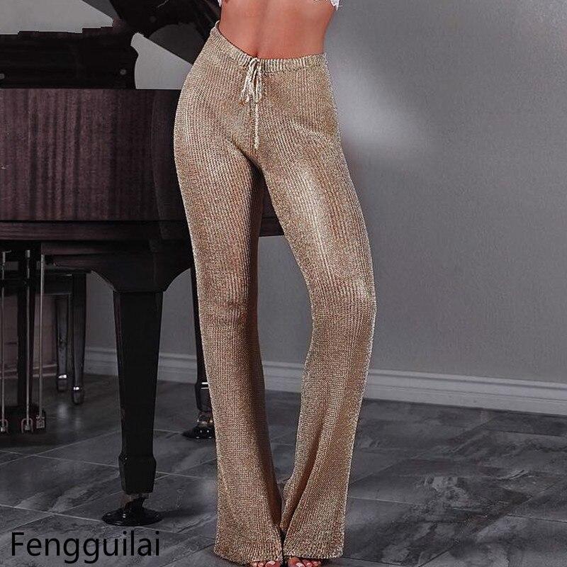 High Quality Women Long   Pants   Metallic Sequined Elastic Waist Bandage Trousers Summer Womens Drawstring   Wide     Leg     Pants