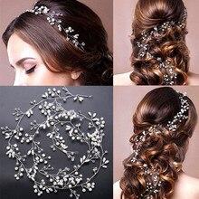 Accesorios para el cabello de boda cinta de pelo de perlas de cristal adornos para cabello de novia joyería para el pelo de novia diademas
