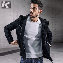 KUEGOU New Autumn Mens Hooded Jackets And Coats Patchwork Zipper Black Color Brand Clothing Man's Slim Clothes Male Tops 0715(China)