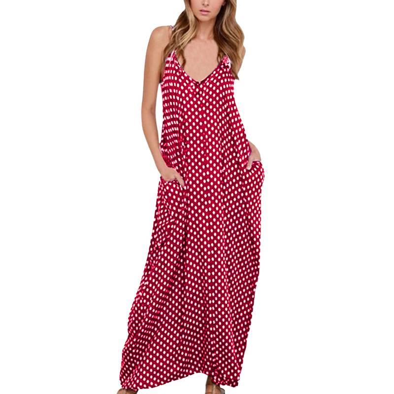 Богемное длинное платье-спагетти на бретельках, женское летнее платье с глубоким v-образным вырезом, сарафан без рукавов, в горошек, с карман...