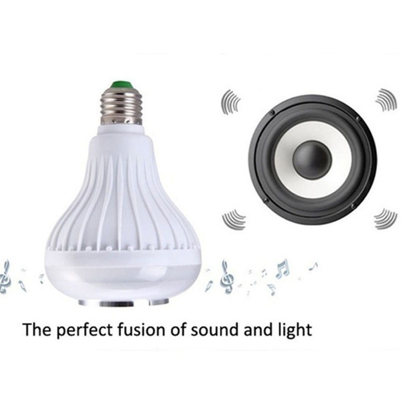 Speaker Bulb Light Wireless Bluetooth Speaker E27 RGB 16 Color 12W Smart LED Music Bulb Light Music Play Lamp With Remote in Portable Speakers from Consumer Electronics