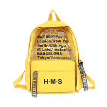 Fashion Letter Transparent Women Backpack Travel Bag Large Bookbag Mochila College Design Canvas School For Teen Girls