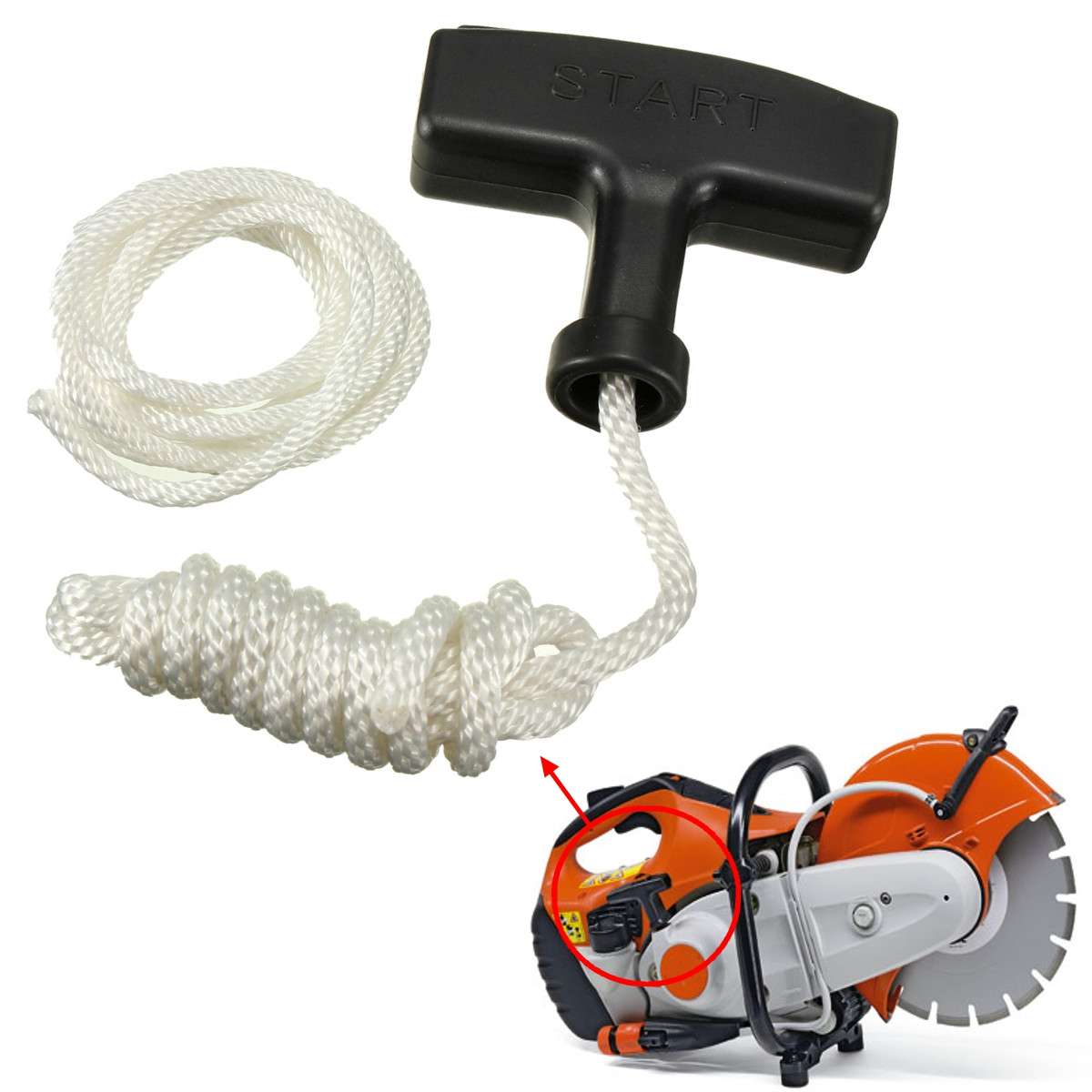 1x Universal Replacement Chainsaw Strimmer Starter Recoil Pull Handle With Rope & Spare Cord