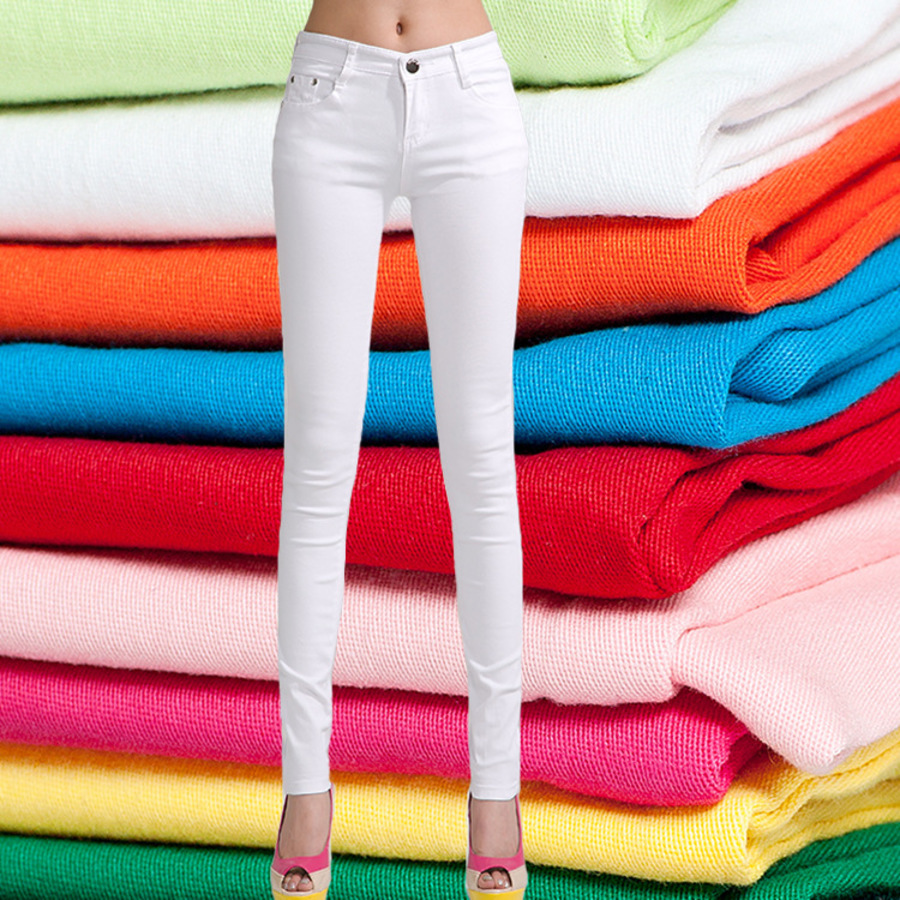 2019 Spring Summer Women Skinny Jeans High Waist Candy Color Pants Female Stretch Denim Pencil Ladies Clothes