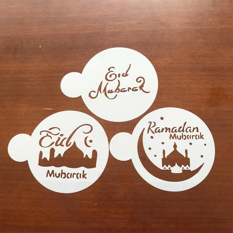 3PCS/Set Ramadan Cake Stencil Muslim Eid Festival Coffee Art Stencils Asymmetrical Shape Cake Decorating Baking Tools