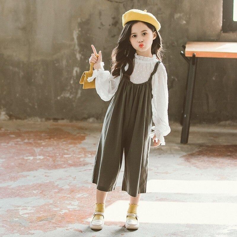Hauts Pantalons Enfants Vêtements Ensembles Printemps Automne 2019 Adolescentes Vêtements Enfants Blouses Blanches + Salopette 2 pièces Costumes Mode - 2