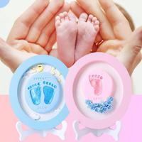Baby Hand Foot Print Full Moon 100 Days Hand And Foot Print Crystal Mud Wood Custom Diy Gift Souvenir Baby Toy 0 12 Months O3