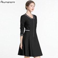 c160a10e19 Akuma 2019 Plus rozmiar linii sukienki w paski kobiety dekolt w serek z  zamki duży rozmiar wiosna jesień na co dzień luźne solid.