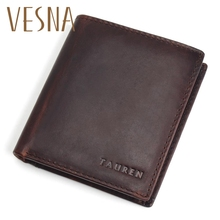 Vesna TAUREN Men Wallets Vintage Crazy Horse Genuine Leather Zipper Wallet Card Holder Coin Pocket Mens Purse Male Carteira