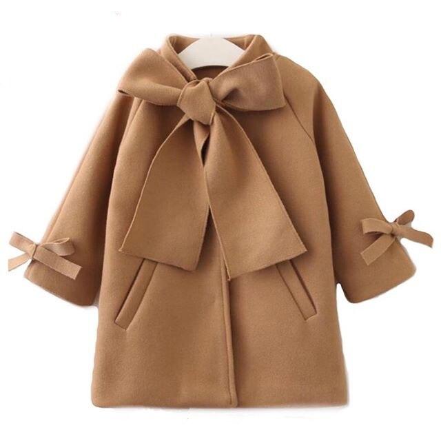חורף אביב פעוט ילדי תינוק בנות חם צמר Bowknot מעיל מעיל להאריך ימים יותר מעיל בגדי חום 2-8Y