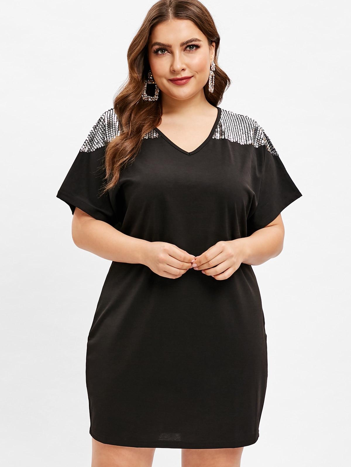 Wipalo Plus Size Short Sleeves Sequin Embellished Shift Dress Solid Black  Party Vestidos Retro Vintage Dress d620e775005e