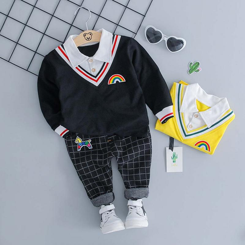 Spring Autumn Baby Boy V-Neck Shirt Suit Children Clothing Sets Products Kids Clothes Baby Boys Fake Two-Piece Top Long Pants