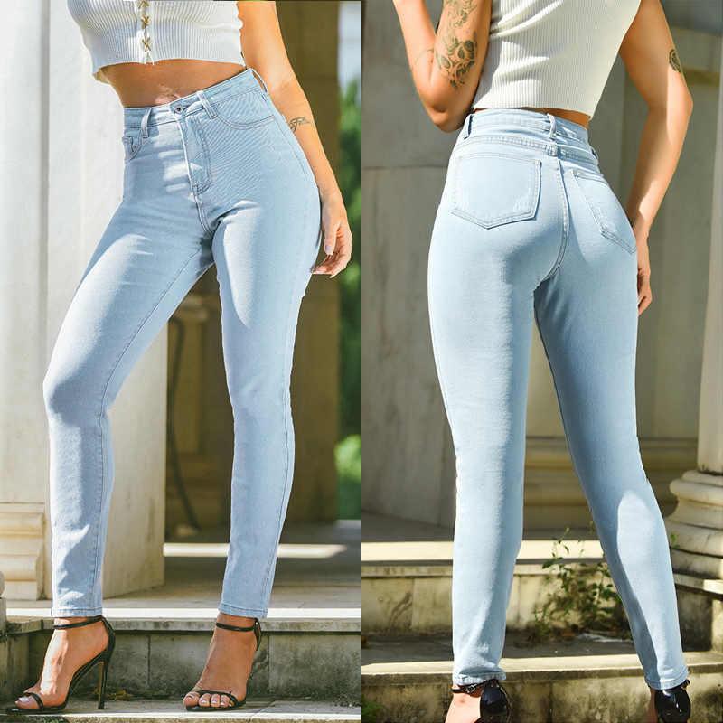 Tirar Jeans Dama Cintura Alta De Las Mujeres Pantalones Capris Tipo Lapiz Elastico Pantalones De Denim La Luz Parte De Arriba De Color Azul Tienda De Talla Grande Pantalones Vaqueros Aliexpress
