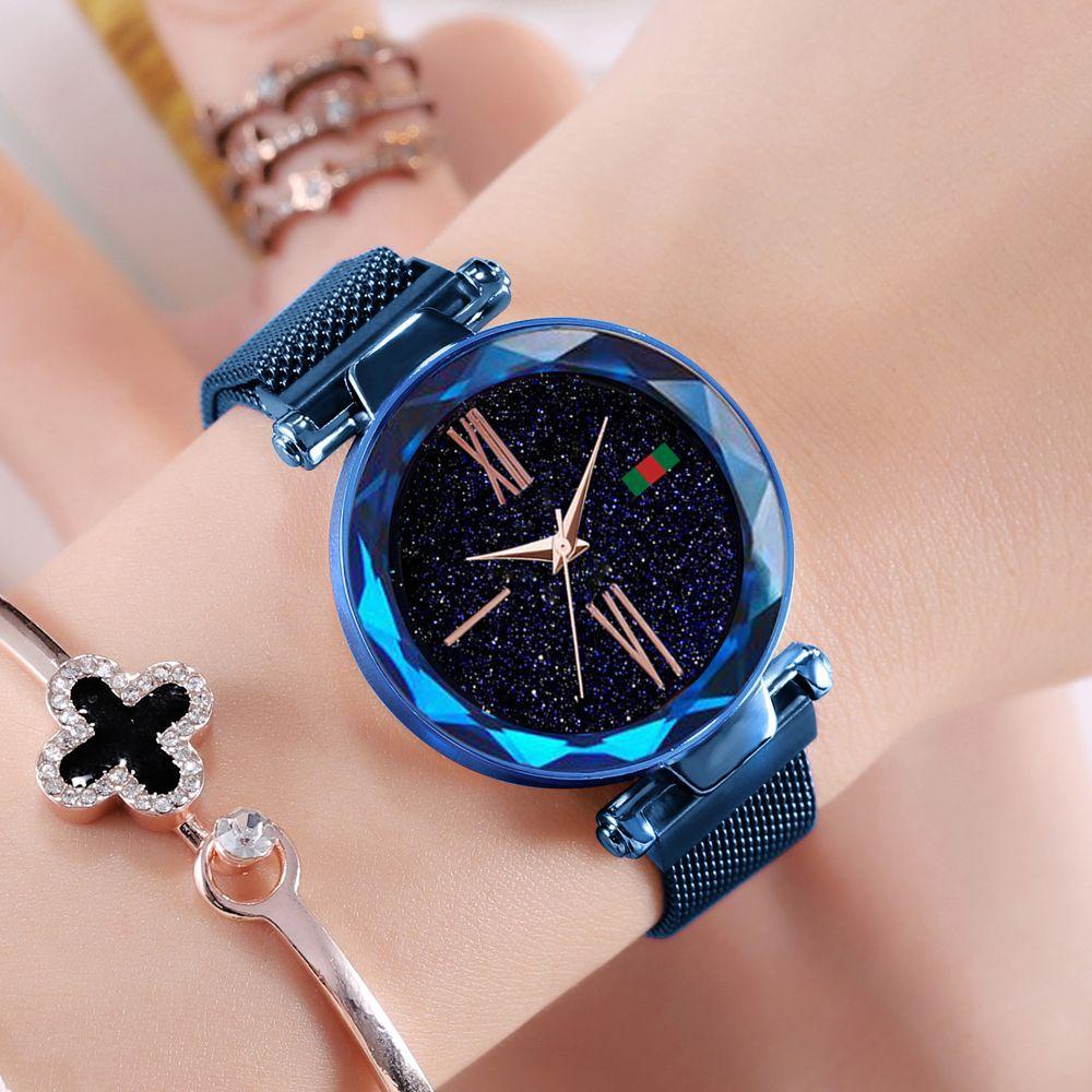 Hannah Martin Women Watches Ladies Rose Gold Watch Starry Sky Magnetic Waterproof Female Wristwatch