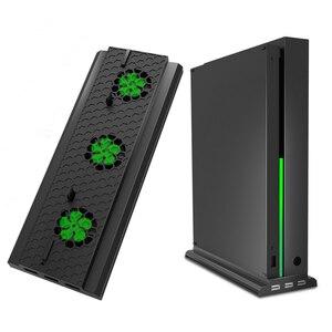 Pro pionowy stojak z wentylatorem chłodzącym do konsoli Xbox One X, chłodnica konsoli z 3 portami Usb do konsoli Xbox One X