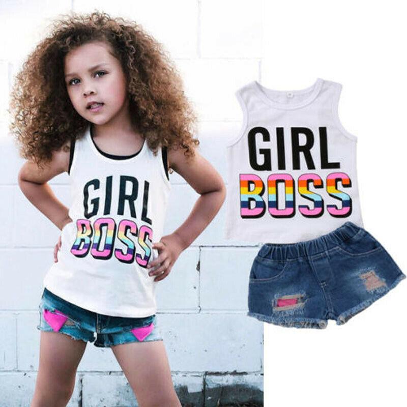 Toddler Girl Short Sets Kids Cotton Sleeveless Girl Boss Vest Tops+ Denim  Shorts Hole Jeans Girls Summer Outfit|Clothing Sets| - AliExpress